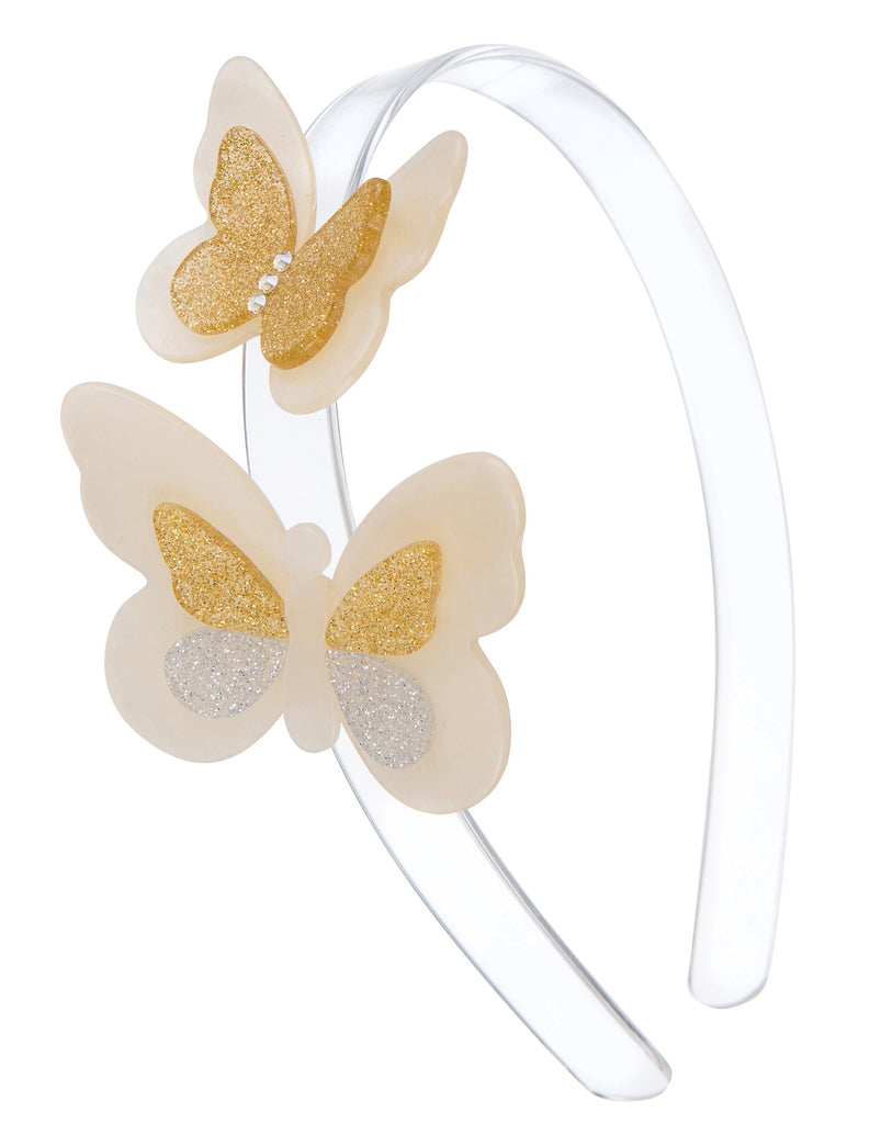 Lilies & Roses NY Girl's Double Butterfly Satin Headband