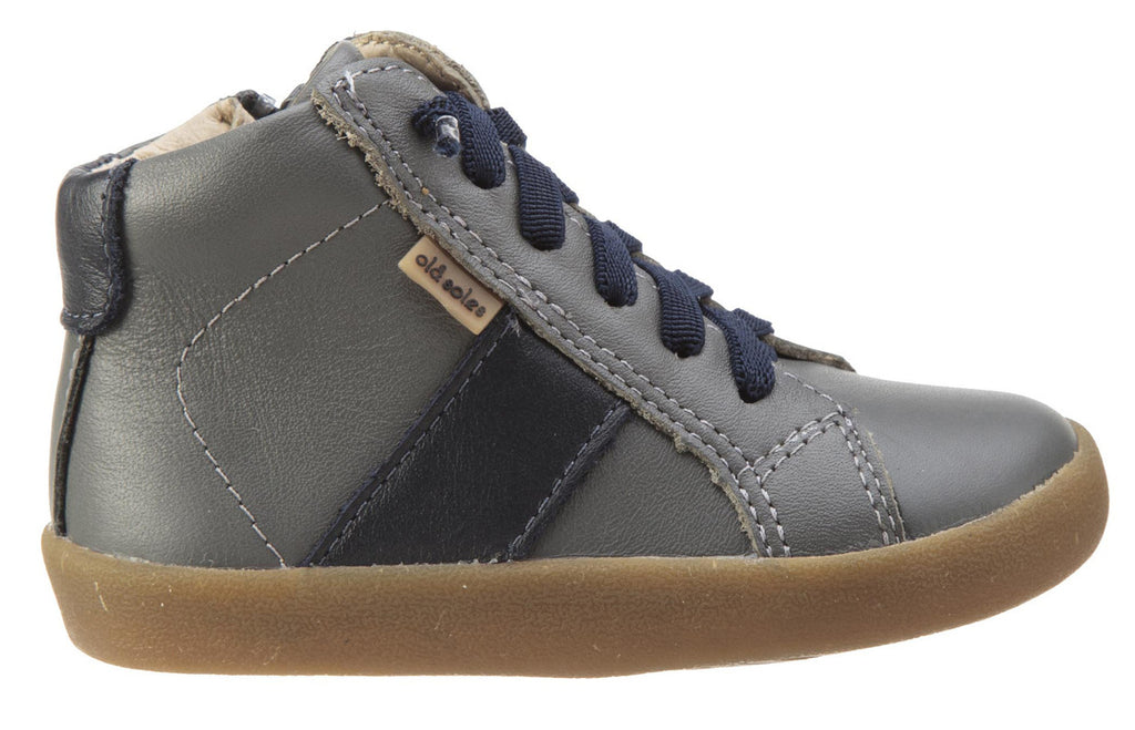 Old Soles Boy's and Girl's Riser Grey Navy Leather Racer Stripe Lace Side Zipper Slip On High Top Sneaker