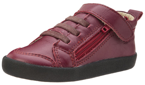 Old Soles Boy's and Girl's Steps Burgundy Leather Elastic Lace Hook and Loop Strap Side Zipper Sneaker
