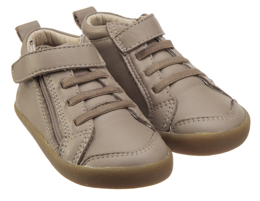 Old Soles Boy's and Girl's Steps Taupe Leather Elastic Lace Hook and Loop Strap Side Zipper Sneaker