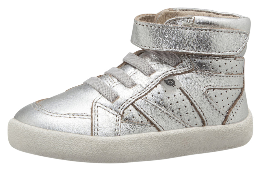 Old Soles Girl's and Boy's The Leader Silver Perforated Metallic Leather Elastic Lace Hook and Loop High Top Sneaker