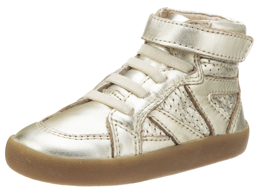Old Soles Girl's and Boy's The Leader Gold Perforated Metallic Leather Elastic Lace Hook and Loop High Top Sneaker