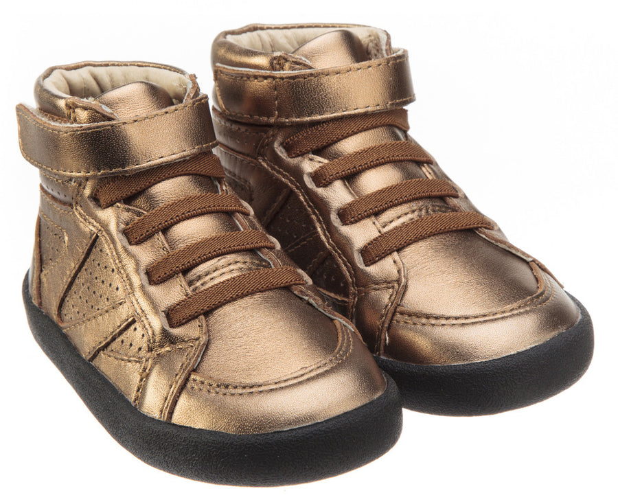 Old Soles Girl's and Boy's The Leader Old Gold Perforated Metallic Leather Elastic Lace Hook and Loop High Top Sneaker