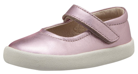 Old Soles Girl's Missy Shoe Leather Mary Jane Dress Shoes, Pink Frost