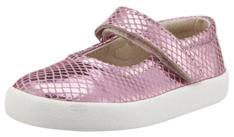 Old Soles  Girl's Missy Pink Snake Leather Mary Jane Sneaker Shoe