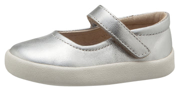 Old Soles Girl's Missy Shoe Leather Mary Jane Dress Shoes, Silver