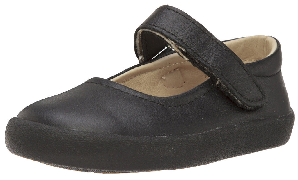 Old Soles Girl's Missy Shoe Black Leather Hook and Loop Mary Jane Flat Shoe