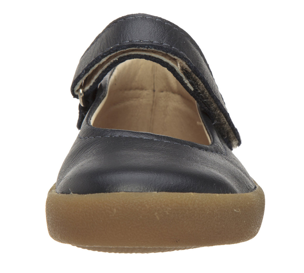 Old Soles Girl's Missy Shoe Navy Leather Hook and Loop Mary Jane Flat Shoe
