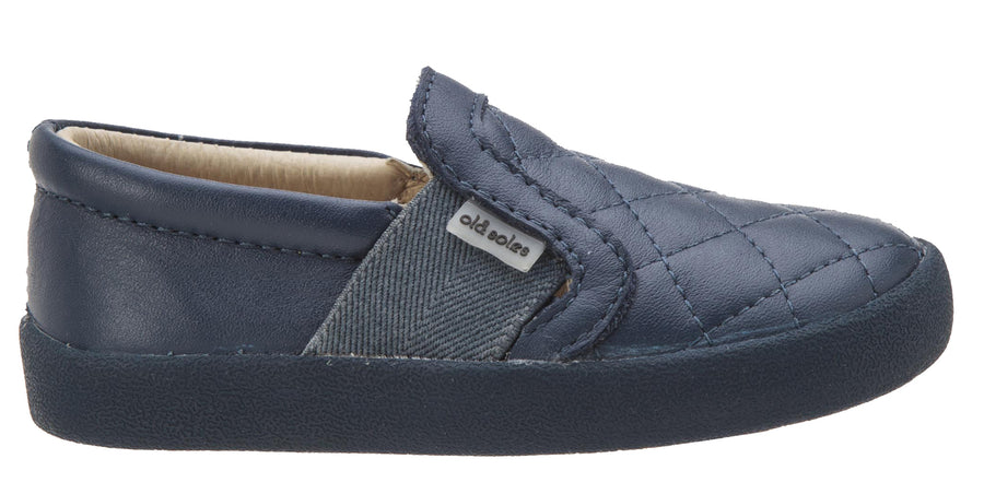 Old Soles Girl's and Boy's My Quilt Navy Stitch Elastic Band Leather Slip On Loafer Sneaker
