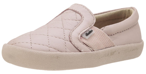 Old Soles Girl's and Boy's My Quilt Powder Pink Stitch Elastic Band Leather Slip On Loafer Sneaker
