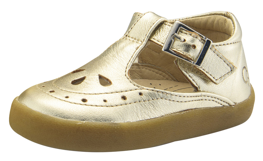 Old Soles Girl's Royal Shoe Leather Mary Jane Dress Shoes, Gold