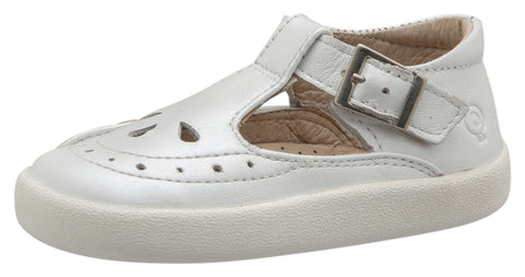 Old Soles Girl's 5011 Royal Shoe Premium Leather T-Strap Sneaker Shoe, Nacardo Blanco / White Sole