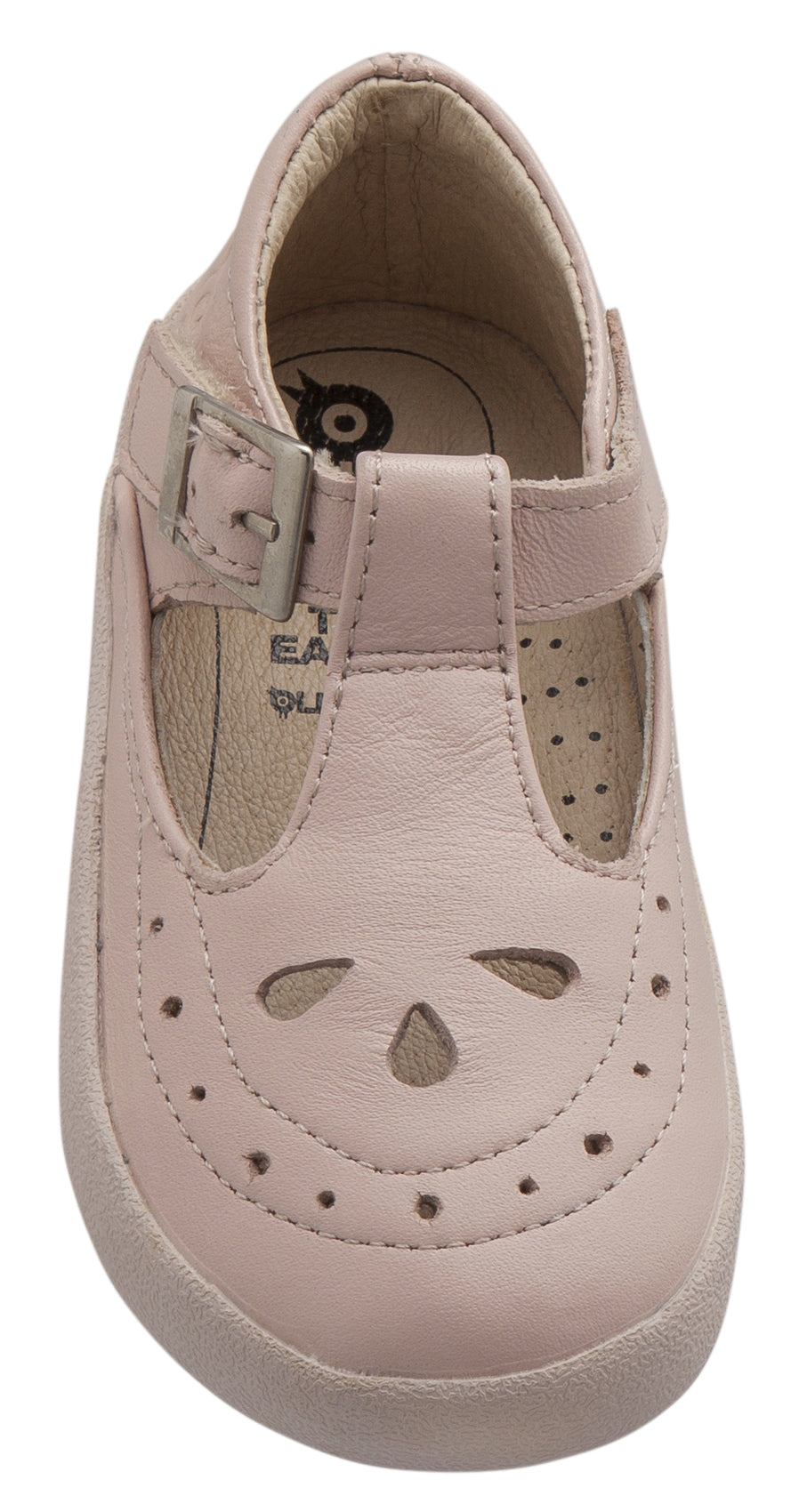Old Soles Girl's 5011 Royal Shoe Premium Leather T-Strap Sneaker Shoe, Powder Pink / Pink Sole