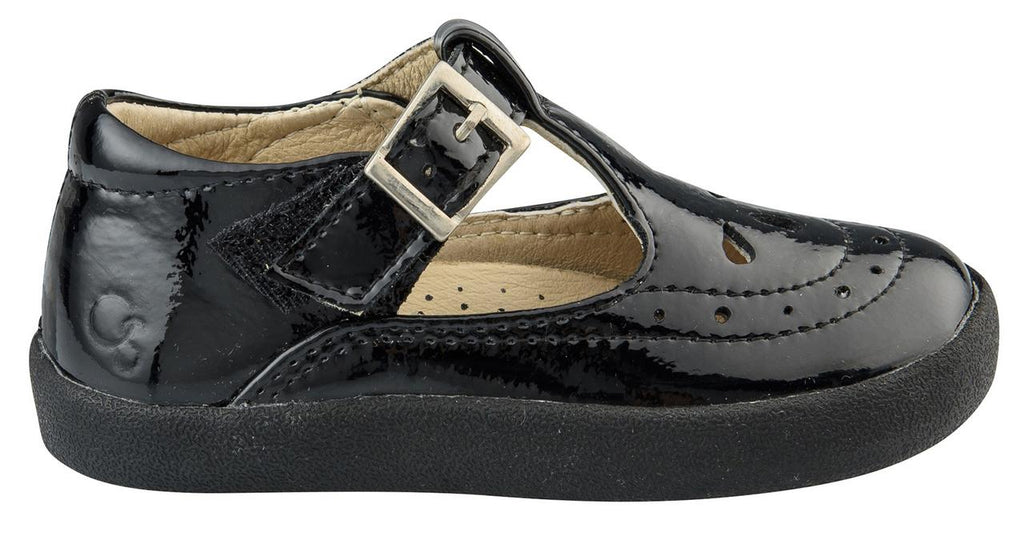 Old Soles Girl's 5011 Royal Shoe Premium LeatherT-Strap Sneaker Shoe, Black