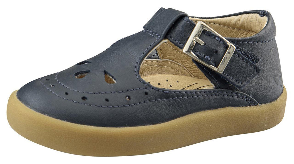 Old Soles Girl's 5011 Royal Shoe Premium LeatherT-Strap Sneaker Shoe, Navy