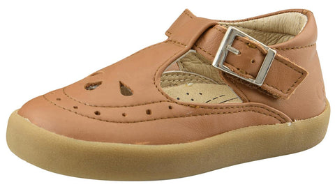 Old Soles Girl's 5011 Royal Shoe Premium LeatherT-Strap Sneaker Shoe, Tan