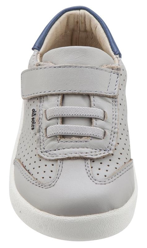 Old Soles Girl's & Boy's 5013 Mr Lee Grey and Denim Blue Leather Slip On Sneaker Shoe with Hook and Loop Strap