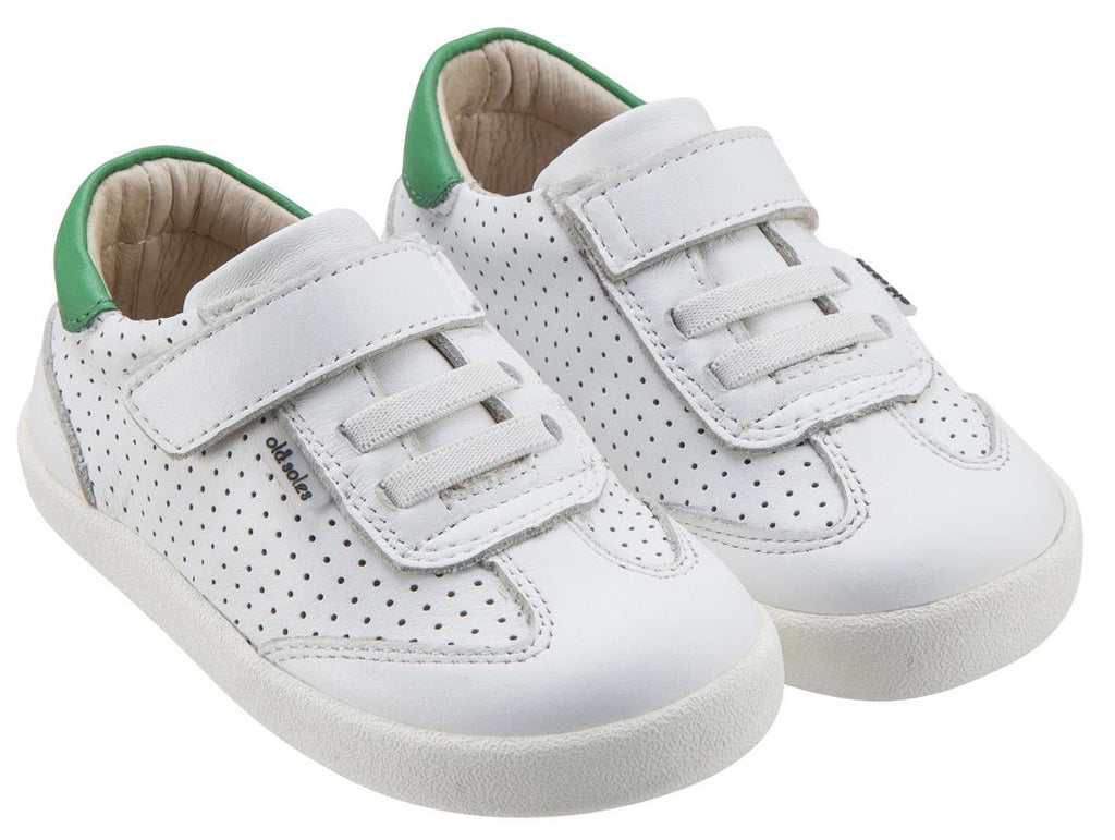 Old Soles Girl's & Boy's 5013 Mr Lee White and Green Leather Slip On Sneaker Shoe with Hook and Loop Strap