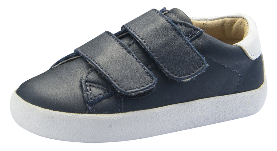 Old Soles Boy's Toddy Hook and Loop Closure Sneaker Shoes, Navy/Snow