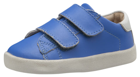 Old Soles Boy's & Girl's 5017 Toddy Shoe Neon Blue and Snow Leather Bicolor Sneaker Shoe with Double Hook and Loop Straps