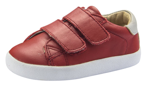 Old Soles Boy's Toddy Hook and Loop Closure Sneaker Shoes, Red/Gris