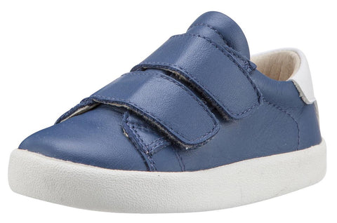 Old Soles Boy's & Girl's 5017 Toddy Shoe Blue and White Leather Bicolor Sneaker Shoe with Double Hook and Loop Straps