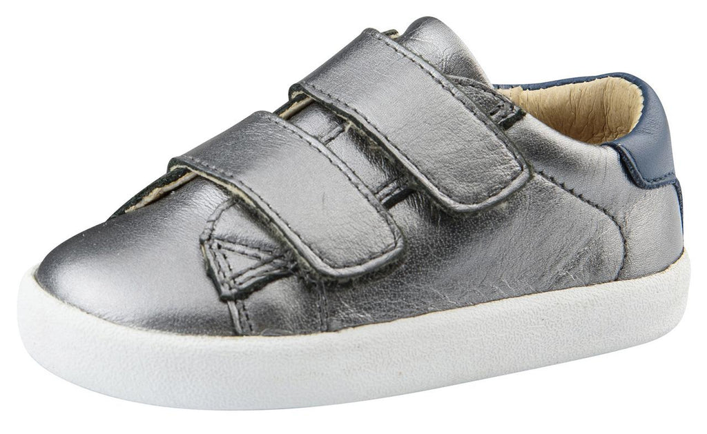 Old Soles Boy's Toddy Hook and Loop Closure Sneaker Shoes, Rich Silver/Jeans