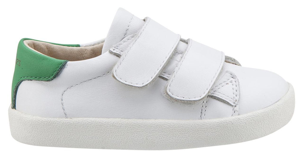 Old Soles Boy's & Girl's 5017 Toddy Shoe White and Green Leather Bicolor Sneaker Shoe with Double Hook and Loop Straps