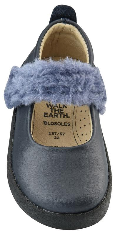 Old Soles Girl's Fur Jane Leather Mary Jane Sneakers, Navy