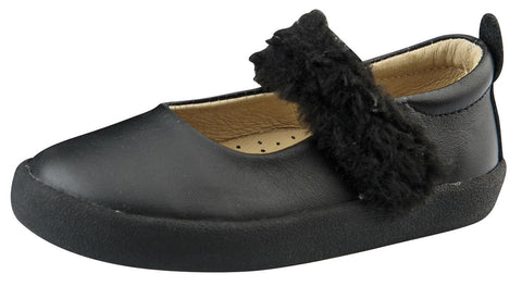 Old Soles Girl's Fur Jane Leather Mary Janes, Black