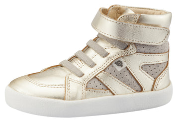 Old Soles Girl's & Boy's New Leader Sneakers, Gold / Grey Suede