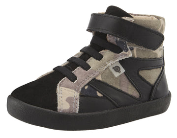 Old Soles Girl's & Boy's 5059 High Rank High Top Sneaker - Army Camo/Black/Black Suede