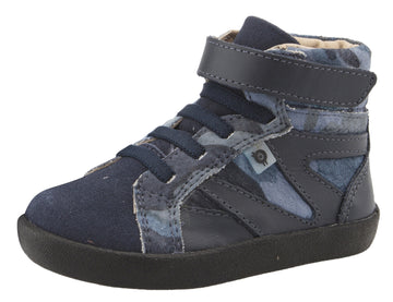 Old Soles Girl's & Boy's 5059 High Rank High Top Sneaker - Marine Camo/Navy/Navy Suede