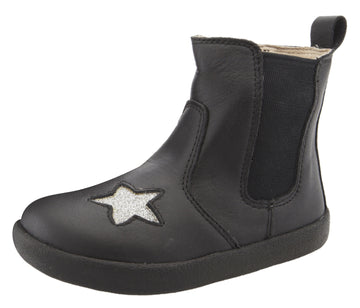 Old Soles Girl's & Boy's 5060 Local Star Leather Slip On High Top Boot Sneaker - Nero/Glam Argent