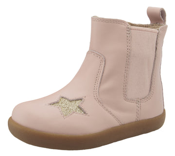 Old Soles Girl's 5060 Local Star Leather Slip On High Top Boot Sneaker - Powder Pink/Glam Gold
