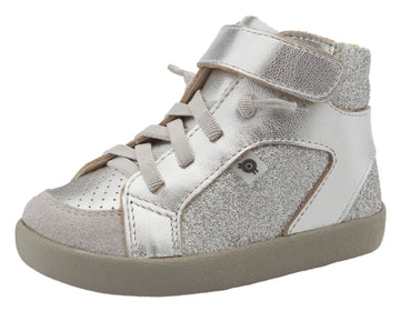 Old Soles Girl's & Boy's 5061 Sprite High Top Leather Sneakers - Silver/Glam Argent/Grey Suede