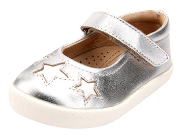 Old Soles Girl's Miss Star Shoe Leather Mary Jane Shoes, Silver/Snow