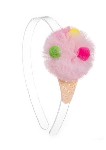 Lilies & Roses NY Girl's Pom Pom Ice Cream Headband