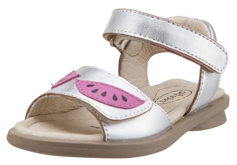 Old Soles Girl's 526 Tropicana Watermelon Slices Silver Leather Hook and Loop Sandals