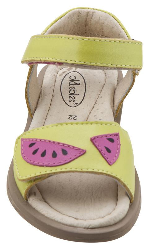 Old Soles Girl's 526 Tropicana Watermelon Slices Smooth Lima LeatherHook and Loop Sandals