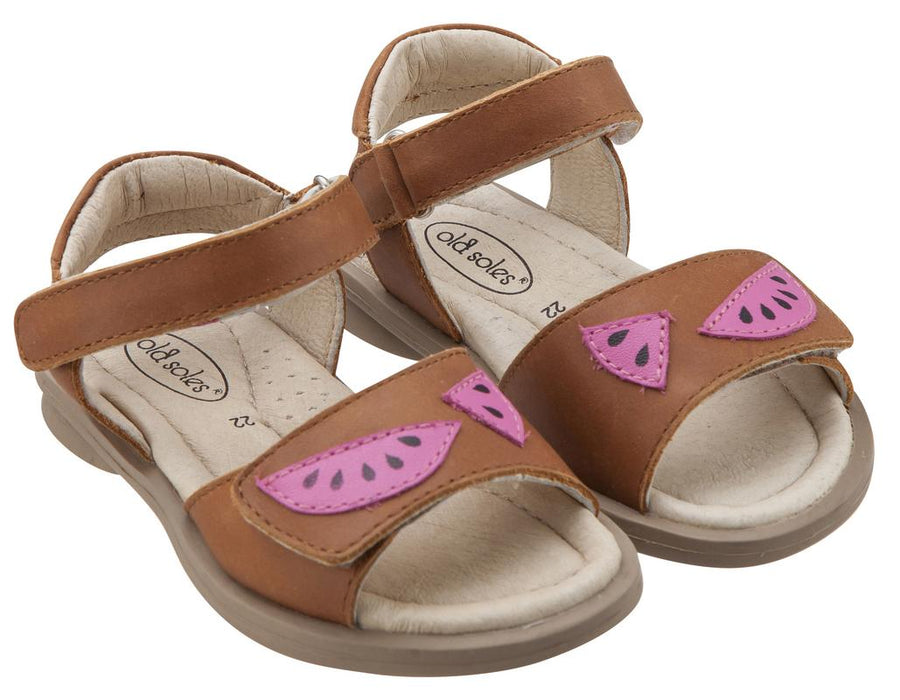 Old Soles Girl's 526 Tropicana Watermelon Slices Smooth Tan Leather Peep Toe Hook and Loop Sandals