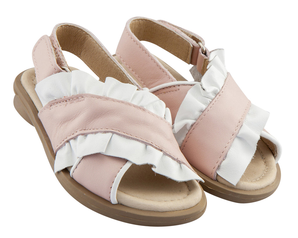 Old Soles Girl's Ruffle-Leen Leather Sandals, Powder Pink/Snow