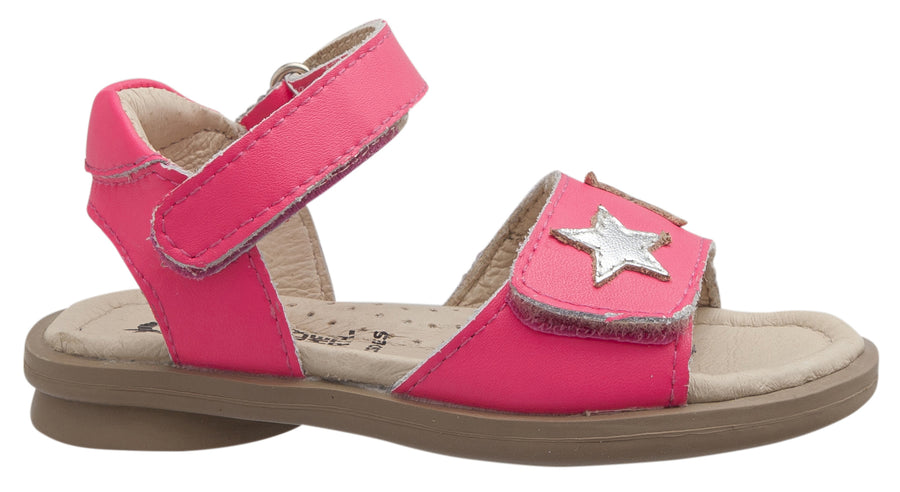 Old Soles Girl's Star-Born Leather Sandals, Neon Pink/Silver