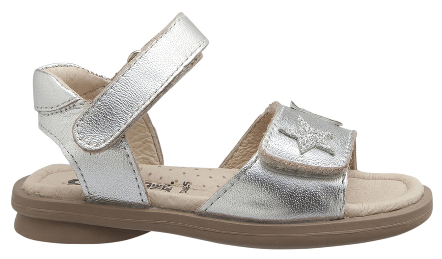 Old Soles Girl's Star-Born Leather Sandals, Silver/Glam Argent