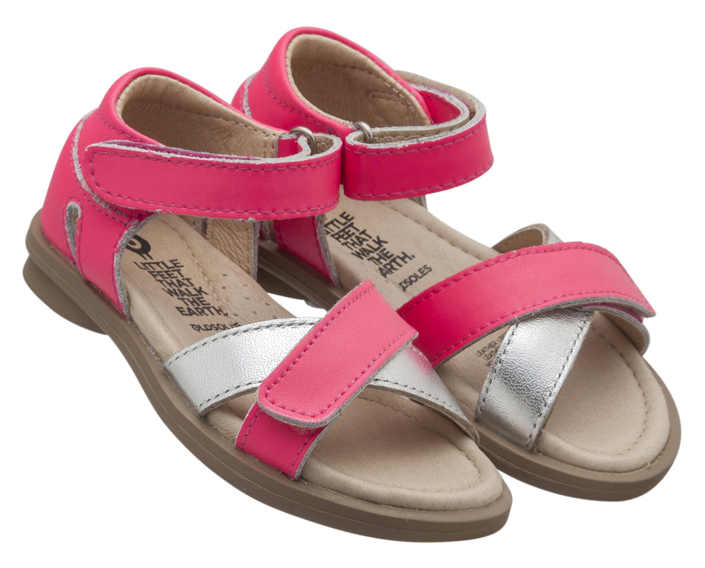 Old Soles Girl's Play Sandals, Neon Pink/Silver