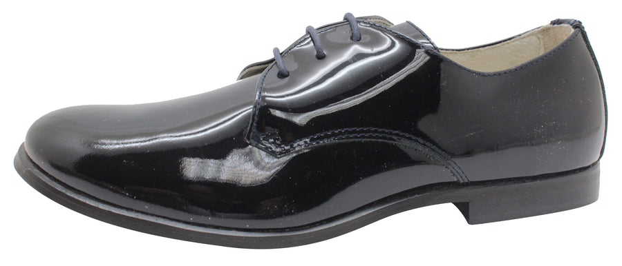 Oca-Loca Boy's 5550-06 Patent Leather Black Laced Tie Oxfords