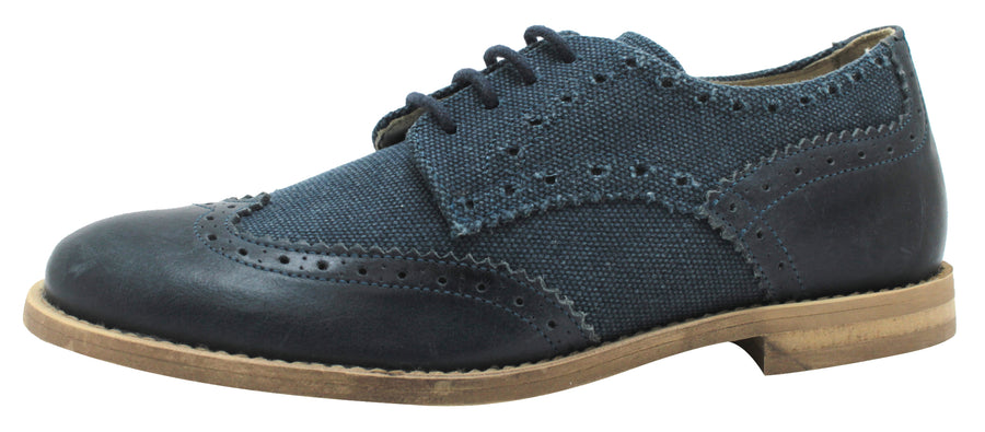 Oca-Loca Boy's 5557 Oxford Wingtip Leather Textile Dress Shoe - Navy