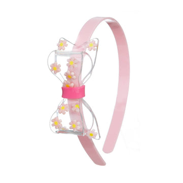 Lilies & Roses NY Big Clear Bow with Daisies Pink Headband