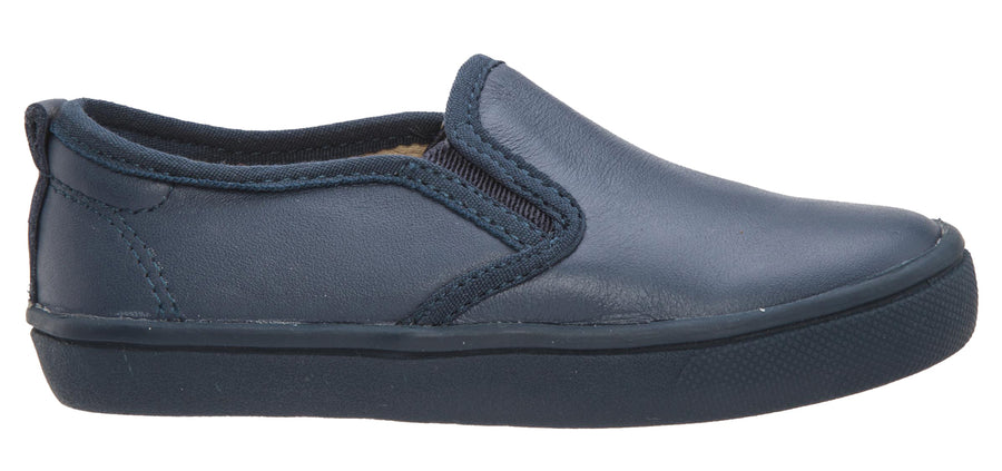 Old Soles Girl's and Boy's Hoff-Two Denim Smooth Leather Accent Leather Trim Slip On Loafer Sneaker