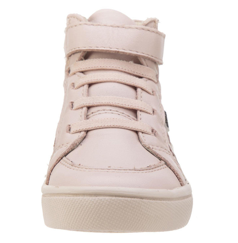 Old Soles Girls and Boy's Starter Shoe Powder Pink Perforated Leather Zig Zag Design Elastic Lace Hook and Loop High Top Sneaker